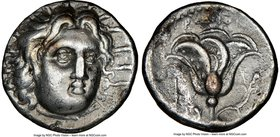 CARIAN ISLANDS. Rhodes. Ca. 250-205 BC. AR didrachm (20mm, 1h). NGC VF. Ca. 250 BC. Radiate head of Helios facing, turned slightly right, hair parted ...