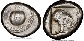 PAMPHYLIA. Side. Ca. 5th century BC. AR stater (21mm, 10.92 gm, 7h). NGC XF 4/5 - 4/5. Ca. 430-400 BC. Pomegranate, guilloche beaded border / Head of ...