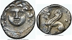 CILICIA. Uncertain mint. Ca. 4th century BC. AR obol (11mm, 3h). NGC Choice VF. Possibly Mallus. Facing gorgoneion, wearing triple-pendant earrings / ...