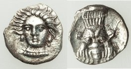 CILICIA. Uncertain mint. Ca. 4th century BC. AR obol (9mm, 0.54 gm, 8h). Choice XF. Female head (Arethusa?) facing, turned slightly left, wearing pear...