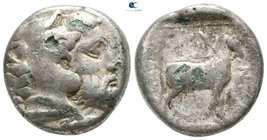 Kings of Macedon. Aigai. Amyntas III 393-369 BC. Fourrée Didrachm AR