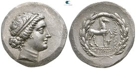 Aeolis. Kyme . ΣΤΡΑΤΩΝ (Straton), magistrate 190-100 BC. Tetradrachm AR. Stephanophoric type