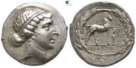 Aeolis. Kyme . ΟΛΥΜΠΙΟΣ (Olympios), magistrate circa 155-143 BC. Tetradrachm AR. Stephanophoric type
