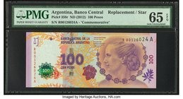 Argentina Banco Central 100 Pesos ND (2012) Pick 358r Commemorative Remainder PMG Gem Uncirculated 65 EPQ.   HID09801242017