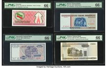 Belarus National Bank 100,000; 20,000 Rublei 1995; 2000 (ND 2001) Pick 15a; 31b Two Examples PMG Gem Uncirculated 66 EPQ (2); Macedonia National Bank ...