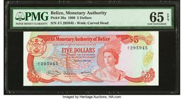 Belize Monetary Authority 5 Dollars 1.6.1980 Pick 39a PMG Gem Uncirculated 65 EPQ.   HID09801242017