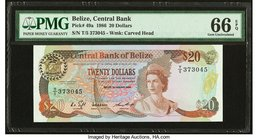 Belize Central Bank 20 Dollars 1.1.1986 Pick 49a PMG Gem Uncirculated 66 EPQ.   HID09801242017