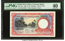 British West Africa West African Currency Board 20 Shillings 31.3.1953 Pick 10a PMG Extremely Fine 40. Minor edge damage.  HID09801242017