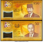Brunei and Singapore 50 Dollars 2017 Commemorative Set in Folder Two Polymer Examples Crisp Uncirculated.   HID09801242017