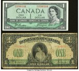 Canada Dominion of Canada $1 1917 DC-23b Very Good; Bank of Canada $1 1954 Devil's Face BC-29b Very Fine-Extremely Fine.   HID09801242017