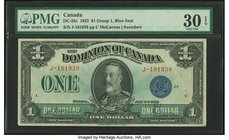 Canada Dominion of Canada $1 2.7.1923 DC-25c PMG Very Fine 30. Good embossing.  HID09801242017