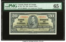 Canada Bank of Canada $20 2.1.1937 BC-25c PMG Gem Uncirculated 65 EPQ.   HID09801242017