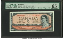 "Canada Bank of Canada $2 1954 BC-30b ""Devil's Face"" PMG Gem Uncirculated 65 EPQ.   HID09801242017"