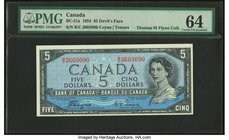 "Canada Bank of Canada $5 1954 BC-31a ""Devil's Face"" PMG Choice Uncirculated 64.   HID09801242017"