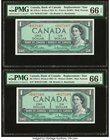 Canada Bank of Canada $1 1954 BC-37bA-i Two Consecutive Replacement Examples PMG Gem Uncirculated 66 EPQ.   HID09801242017