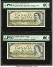 Canada Bank of Canada $20 1954 BC-41b Two Consecutive Examples PMG Gem Uncirculated 66 EPQ.   HID09801242017