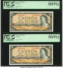 Canada Bank of Canada $50 1954 BC-42b Two Consecutive Examples PCGS Choice About New 58PPQ.   HID09801242017