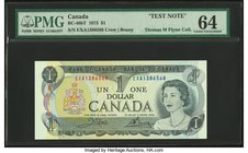 "Canada Bank of Canada $1 1973 BC-46bt ""Test Note"" PMG Choice Uncirculated 64.   HID09801242017"
