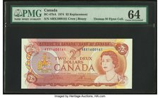 Canada Bank of Canada $2 1974 BC-47bA Replacement PMG Choice Uncirculated 64.   HID09801242017