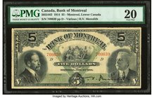 Canada Montreal, PQ- Bank of Montreal $5 3.11.1914 Ch.# 505-54-02 PMG Very Fine 20. Minor repair.  HID09801242017