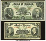 Canada Montreal, PQ- Bank of Montreal $5 Jan. 2, 1923 Ch. # 505-56-02; $10 Jan. 3, 1938 Ch. # 505-62-04 Very Fine or Better.   HID09801242017