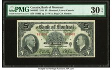 Canada Montreal, PQ- Bank of Montreal $5 2.1.1935 Ch.# 505-60-02 PMG Very Fine 30 EPQ.   HID09801242017