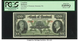Canada Montreal, PQ- Bank of Montreal $20 3.1.1938 Ch.# 505-62-06 PCGS About New 53PPQ.   HID09801242017