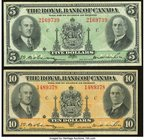 Canada Montreal, PQ- Royal Bank of Canada $5; $10 2.1.1935 Ch. # 630-18-02a; 630-18-04a Very Fine or Better.   HID09801242017