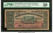 Canada St. John's, NF- Newfoundland Government Cash Note 25 Cents 1911-12 NF-7b PMG Very Fine 20. Corner missing.  HID09801242017