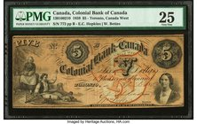 Canada Toronto, CW- Colonial Bank of Canada $5 4.4.1859 Ch.# 130-10-02-10 PMG Very Fine 25.   HID09801242017