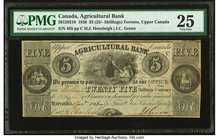 Canada Toronto, UC- Agricultural Bank $5 1.1.1836 Ch.# 20-12-02-16 PMG Very Fine 25. Stains.  HID09801242017