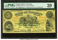 Canada Toronto, ON- Bank of Toronto $5 1.10.1929 Ch.# 715-22-22 PMG Very Fine 20. Annotation.  HID09801242017