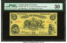 Canada Toronto, ON- Bank of Toronto $5 2.1.1937 Ch.# 715-24-06 PMG Very Fine 30.   HID09801242017