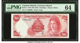 Cayman Islands Currency Board 10 Dollars 1971 (ND 1972) Pick 3 PMG Choice Uncirculated 64. Previously mounted.  HID09801242017