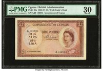 Cyprus Government of Cyprus 1 Pound 1.2.1956 Pick 35a PMG Very Fine 30. Annotation.  HID09801242017