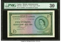 Cyprus Government of Cyprus 5 Pounds 1.6.1955 Pick 36a PMG Very Fine 30. Annotation.  HID09801242017