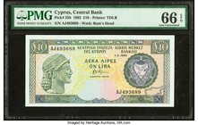 Cyprus Central Bank of Cyprus 10 Pounds 1.2.1992 Pick 55b PMG Gem Uncirculated 66 EPQ.   HID09801242017