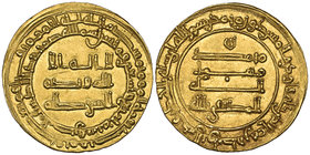 ABBASID, AL-MUKTAFI (289-295h) Dinar, al-Basra 294h Weight: 4.43g References: Bernardi 226Je = Artuk 411. Almost extremely fine and extremely rare 