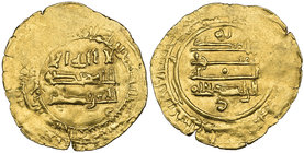 ABBASID, AL-RADI (322-329h) Dinar, Filastin 323h Weight: 3.41g References: Bernardi 285Gn; Bacharach 31. A crude striking with some flatness, fine ove...