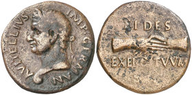 (69 d.C.). Vitelio. Tarraco. As. (Spink 2217) (Co. 34) (RIC. 42) (ACIP. 4251). 10,26 g. Escasa. MBC/MBC-.