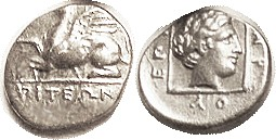ABDERA, Hemidrachm, 385-375 BC, Griffin l./Dionysos head r in square, as S1549 (Hemidrachm, £200); VF, centered a little high so griffin's head off; d...