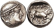 AINOS, Diobol, c.408-406 BC, Hermes head r/Goat stg r, crab under foreleg; AEF, decently centered, quite good metal with dark tone. Ex CNG 9/01 where ...