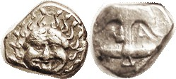 APOLLONIA PONTIKA, Drachm, 450-400 BC; Anchor, VF, sl off-ctr on unround flan, face fully clear; decent metal. (A GVF, this style, brought $920, CNG 5...