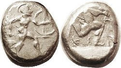 ASPENDOS, Stater, 465-430 BC, Warrior adv rt with spear & shield/ triskeles in incuse square, S5381 ( £750 ). Ex CNG as VF, and it is, somewhat crude ...
