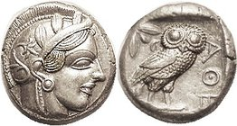 ATHENS, Tet, 449-413 BC, Athena head r/owl stg r, S2526; Choice Virtually Mint/EF, obv quite nicely centered with much of helmet crest present; rev nr...