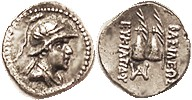 Eukratides I, 171-145 BC, Obol, Helmeted head r/caps of the Dioscuri with palm branches, S7578; EF, well centered & struck, strong details, good metal...