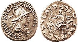 Antialkidas, Drachm, Helmeted bust r, /Zeus std l, elephant forepart; S7630; AEF, centered with complete lgnds, ltly toned, pleasing. (A GVF brought $...