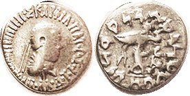 Apollodotos II, 110-80 BC, Drachm, head r/Athena stg l, S7672; F, sl off-ctr, lgnds almost complete & clear; good metal, bright from cleaning. (A F br...