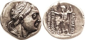 BITHYNIAN Kingdom, Nikomedes II, 149-128 BC, Tet, His head r/Zeus stg l, S7273 (£400); AEF/VF, obv off-ctr with profile crowded but complete, a few sl...