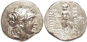 CAPPADOCIA, Ariarathes V, 163-130 BC, Drachm, Head r/Athena stg l, Year 33, S7286; EF, obv centered a bit low with sl shortness of flan at bottom righ...